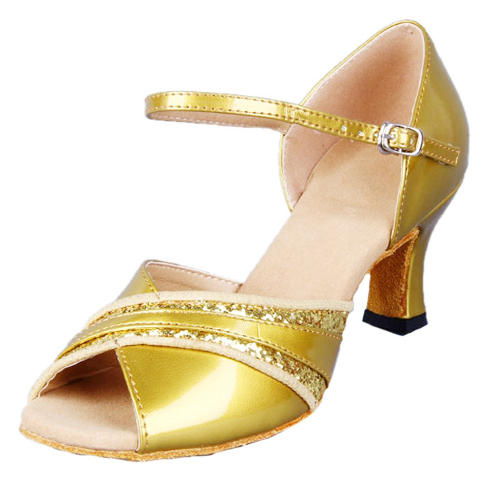 Honeystore Damen's Peep Toe mittelhohem Absatz Latein Tanzschuhe Gold 38.5 EU l5MAgJU