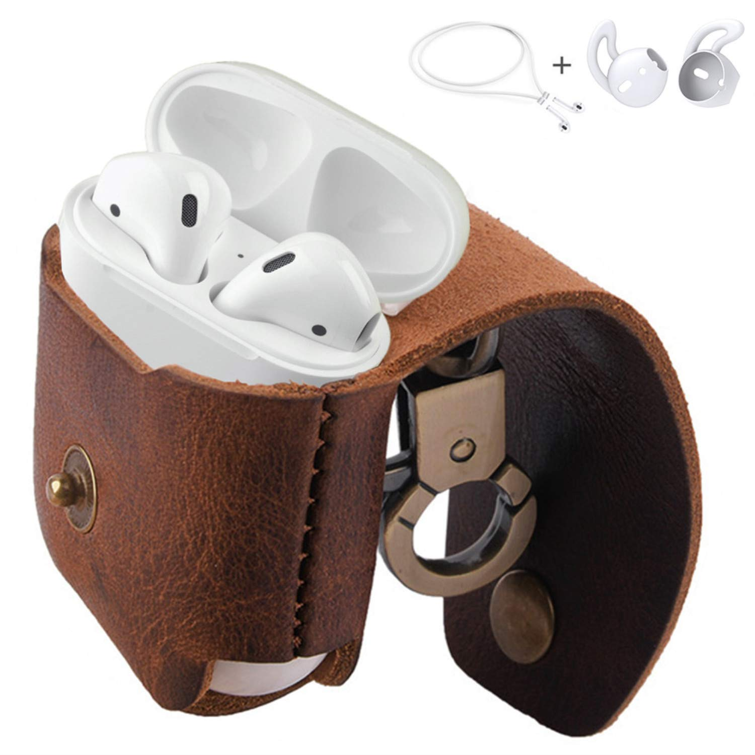 separation shoes 81375 c7e5b MRPLUM AirPods Leather Case Ear Hooks Genuine Leather Portable Protective  Cover Skin with Metal Clasp Compatible with Apple AirPods 1 Charging Case  ...