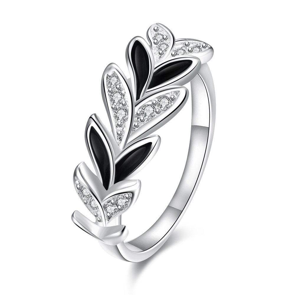 Romantic Fate Fashion Crystal Silver Stoving Varnish White and Black Collocation Leaf Shape Ring 8#