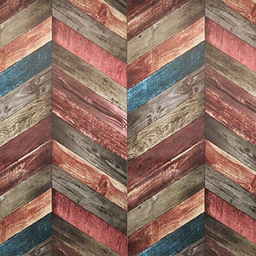 "Chevron Wood Wallpaper - Wood Peel and Stick Wallpaper - Contact Paper or Wall paper - Removable Wallpaper - Vintage Dark Wood Panel Wallpaper - 1.48 ft x 9.83 ft 14.55 sq ft (17.71"" Wide x 118"" Long) ()"