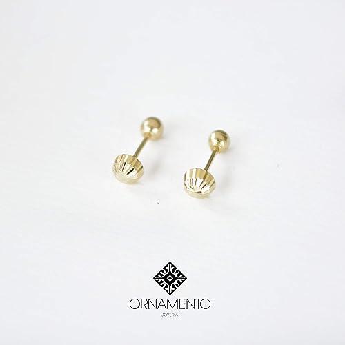 e4e7b75743dd Aretes Bebe Oro 14K facetados  Amazon.com.mx  Handmade