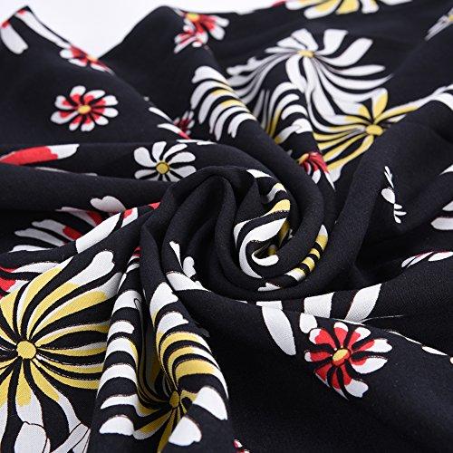iShine Damas Moda Casual vestido de impresión Sling (Correas ajustables) negro