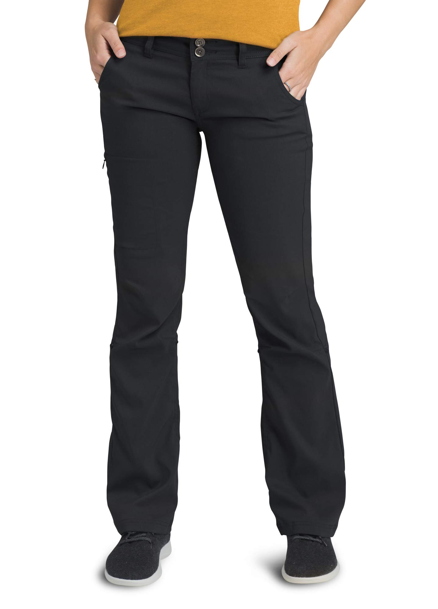 prAna - Women's Halle Roll-up, Water-Repellent Stretch Pants for Hiking and Everyday Wear, Regular Inseam, Black, 4 by prAna