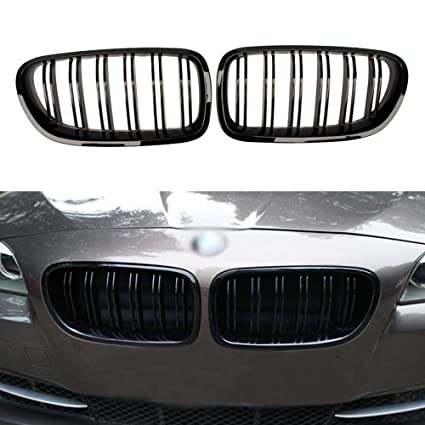 Soyeah ABS Front Replacement Kidney Grille Grill Compatible for BMW 5  Series F10 Glossy Black