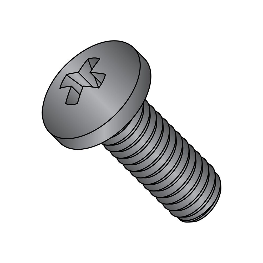 Fully Threaded USA Made #2 Phillips Drive #8-32 Thread Size Meets MS-51957 18-8 Stainless Steel Pan Head Machine Screw Pack of 50 Black Oxide Finish 3//8 Length