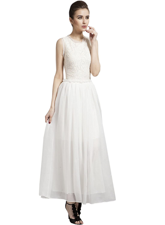 Azbro Women's Elegant Lace Trim Sleeveless Prom Dress