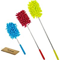 M-jump Retractable Long-Reach Washable Dusting Brush , Microfiber Hand Duster with Telescoping Pole(set of 3)