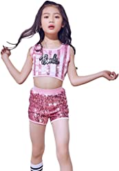 3fec3d622aad LOLANTA Kids Sequin Jazz Tap Dancewear Outfit Crop Tops & Shorts Hip hop Modern  Dance Costume