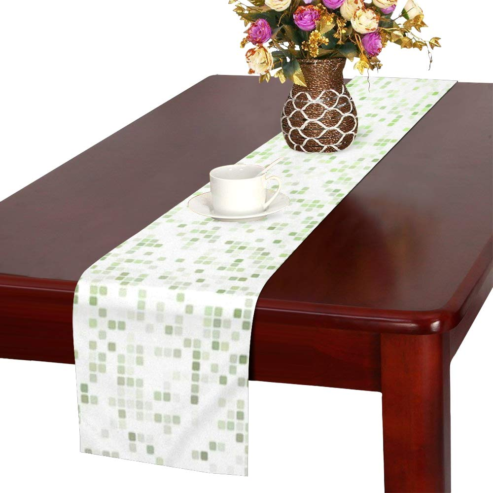 Jnseff Square Color Mosaic Tile Pixel Tiles Table Runner, Kitchen Dining Table Runner 16 X 72 Inch For Dinner Parties, Events, Decor