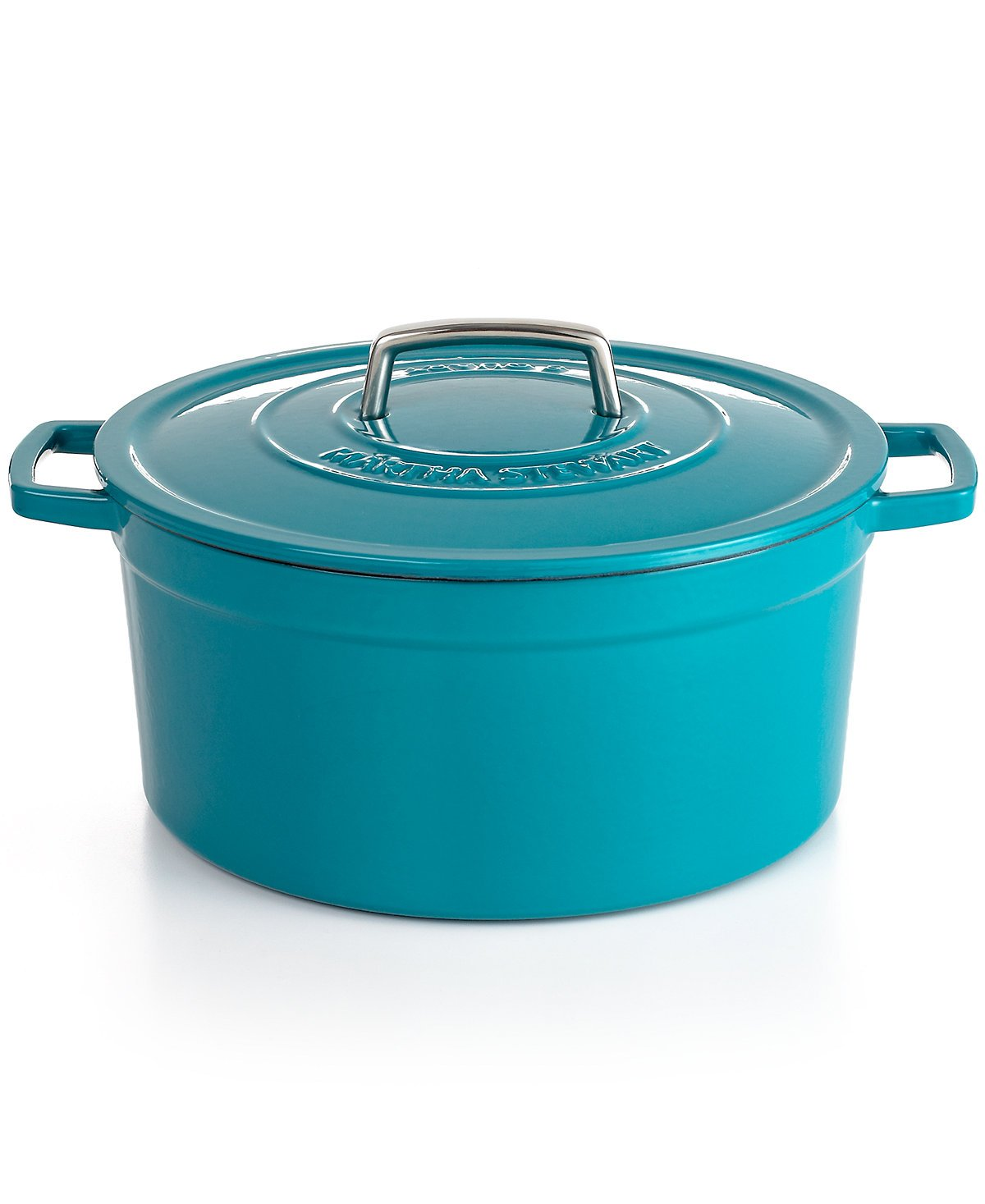 Collector's Enamled Cast Iron 8 QT. Cookware Pot For Multiuse | Exceptional Quality Cast Iron For Browning | Braising | Stewing | Casseroles & Much More | By Martha Stewart (Teal)