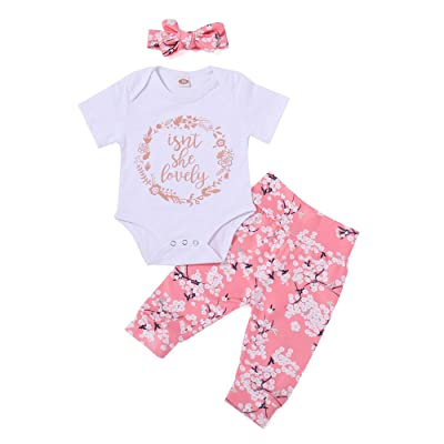 3pcs Newborn Baby Girl Floral Clothes Short Sleeves Isn't She Lovely Bodysuit Jumpsuit Long Pants Headband Outfits