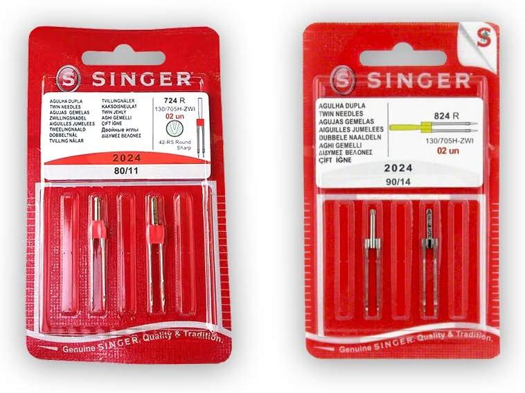 Pack de Agujas Dobles para Máquinas de Coser Singer 2024 Grosores 80 y 90 Separación 4mm