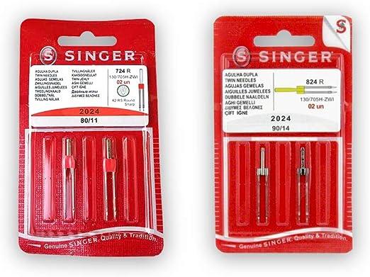 Pack de Agujas Dobles para Máquinas de Coser Singer 2024 Grosores ...
