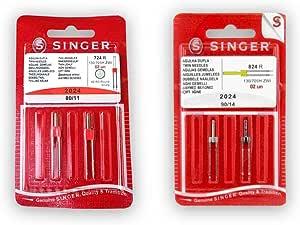 Pack de Agujas Dobles para Máquinas de Coser Singer 2024 Grosores 80 y 90 Separación 4mm: Amazon.es: Hogar
