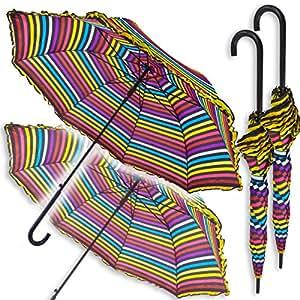 2 automático de apertura del arco iris Paraguas: Pares Con extra Canopy grande - Multi Color y rayas negras - Frontera con volantes