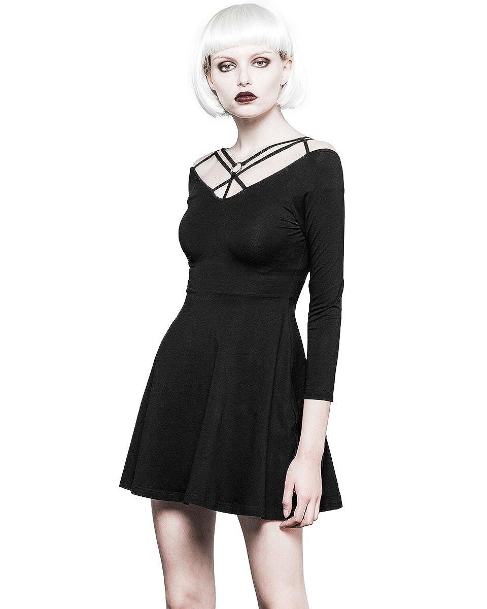 135944e44d68 Punk Rave Gothique Mini Robe Noir à lanières sorcière Occulte Punk 3 4  Patineuse Manche  Amazon.fr  Vêtements et accessoires