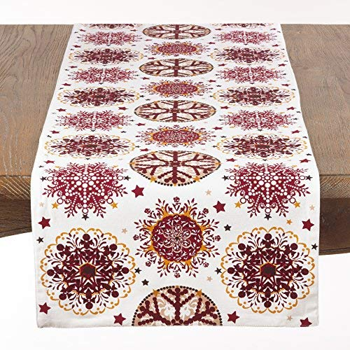Fennco Styles Holiday Decor Red Snowflake Print Table Runner - ()