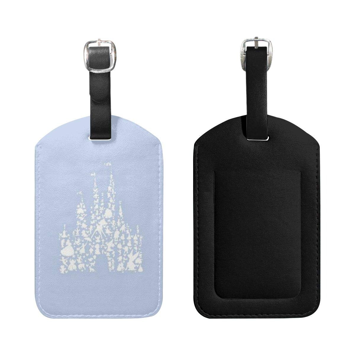 PU Leather Luggage Tags Castle Suitcase Labels Bag Adjustable Leather Strap Travel Accessories Set of 2