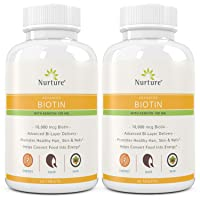 Advanced Biotin with Keratin (2-Pack) | 10000 mcg Biotin – 100 mg Keratin – Promotes...