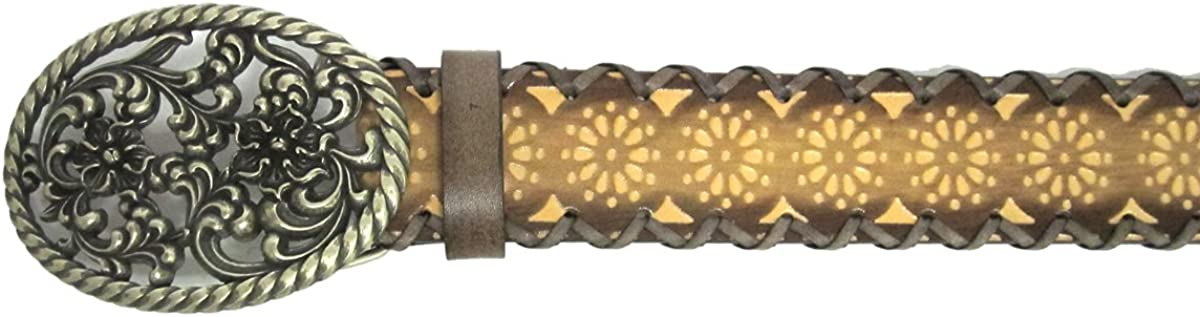 1 1//2 Womens Metallic Chrome Flower Buckle on Quality Patterned Circles Belt