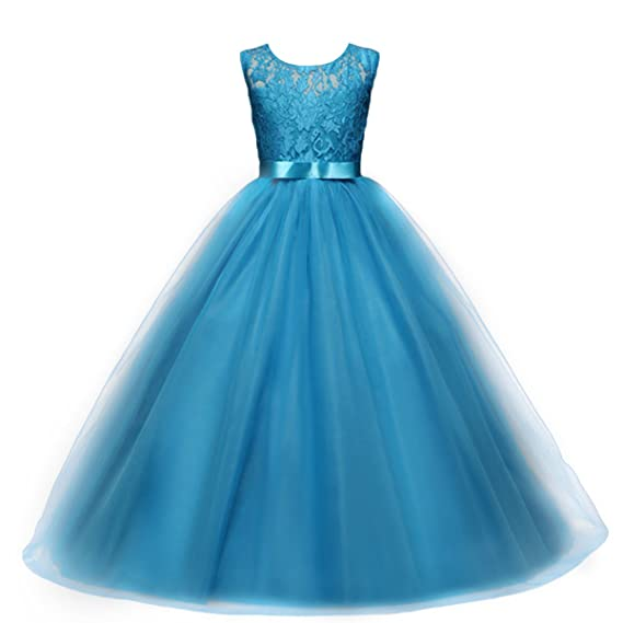 Amazon.com: Yaphyee Flower Girl Kid Princess Long Pageant Formal Wedding Bridesmaid Party Maxi Dress: Clothing