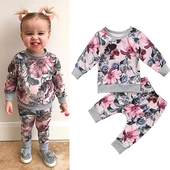 Trisee Recien Nacido Bebe Niña Floral Tops con Capucha + Pantalones ...