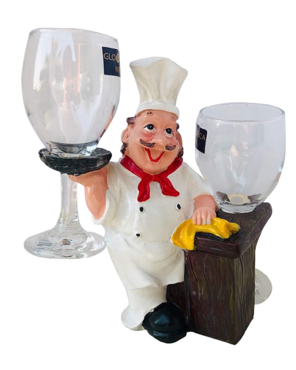 Smiling Chef Figurine Kitchen Decor Wine Glass Holder Decoration