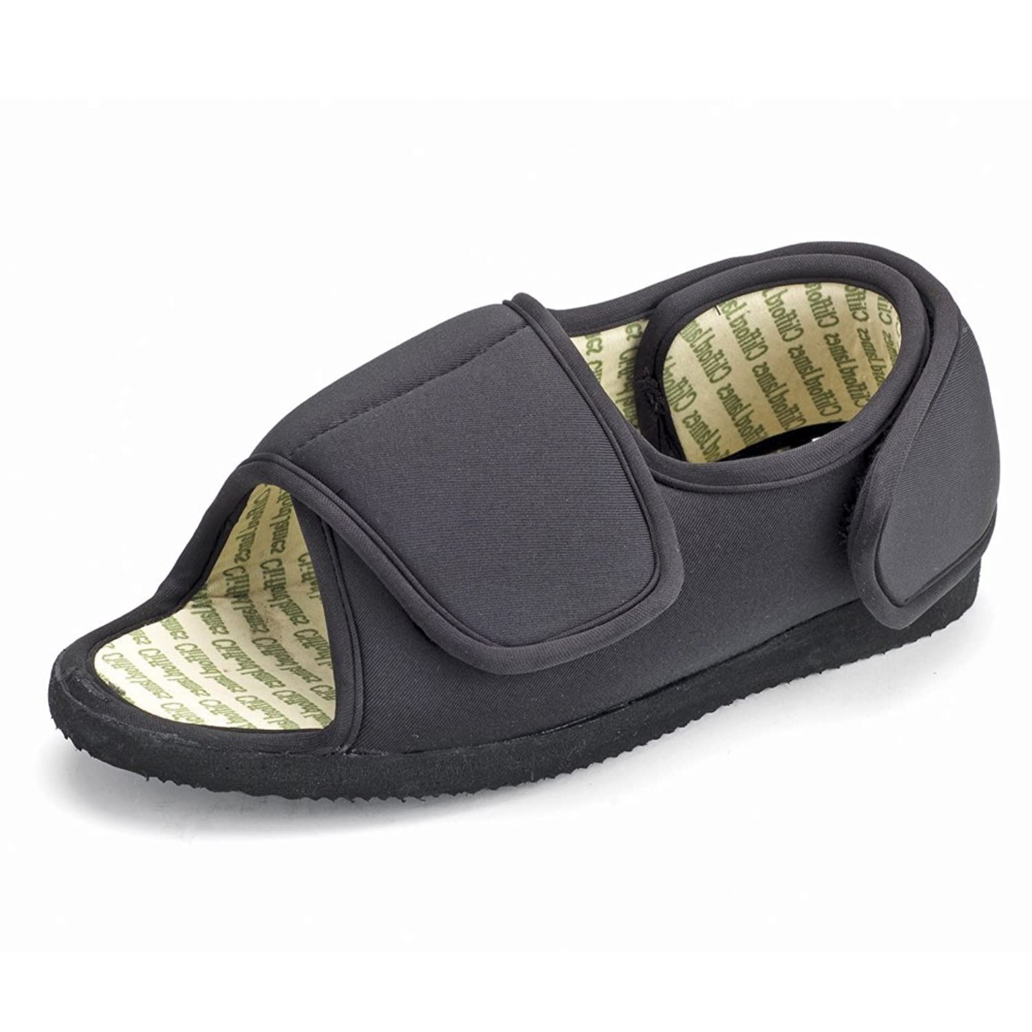 Mens Bedroom Slippers Wide Mens Or Ladies Very Wide Fitting Velcro Memory Foam Insole Open