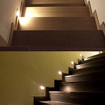 Pack de 2, onerbuy cuadrado empotrable LED paso escaleras luz lámpara de pared porche Pathway Spot Luz Zócalo Patio iluminación para esquina cubierta balcón 8*8*4.5cm/3.2*3.2*1.8inch Warm White: Amazon.es: Hogar
