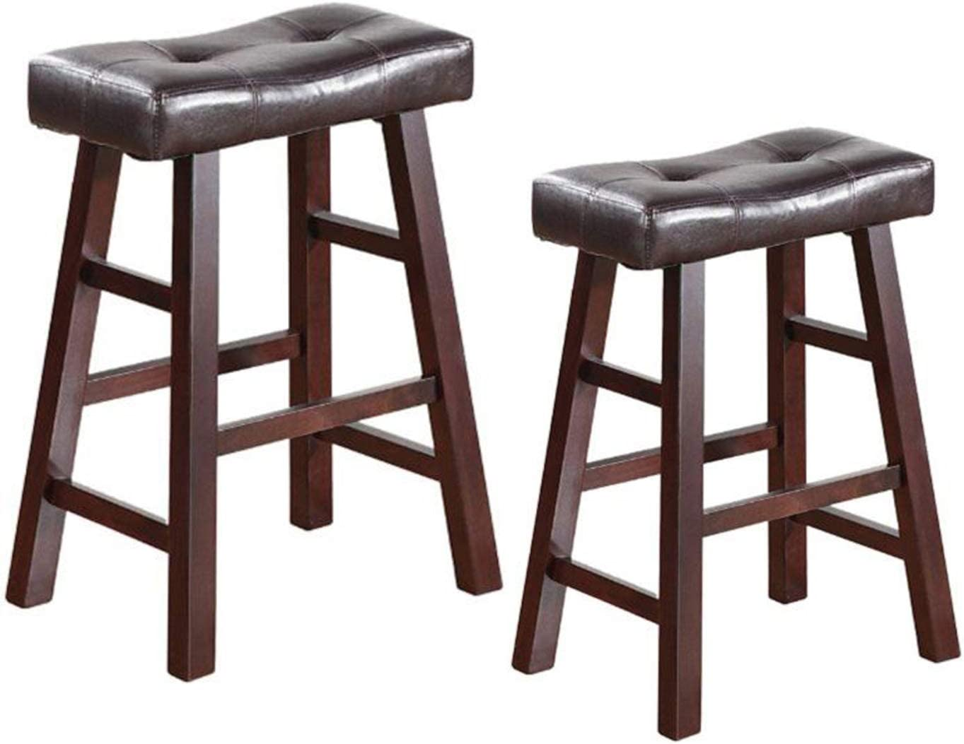 Legacy Decor Pair of 24 or 29 Dark Espresso Wood Barstools Wrapped in Espresso Bonded Faux Leather 24 HIGH