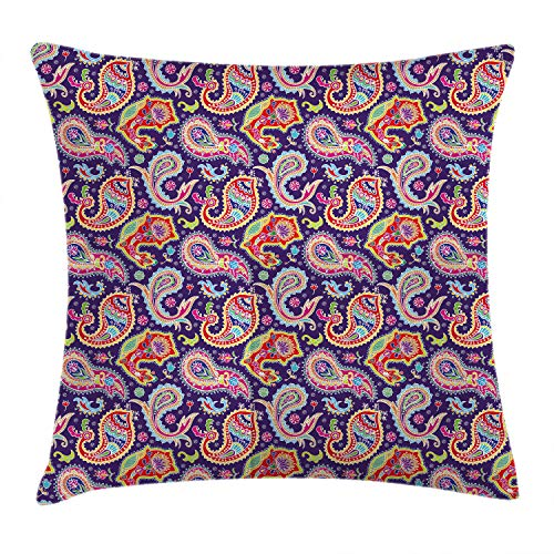 """Ambesonne Paisley Throw Pillow Cushion Cover, Sixties and Seventies Hippie Themed Motives Geometrical and Floral Design Image Print, Decorative Square Accent Pillow Case, 16"""" X 16"""", Purple"""
