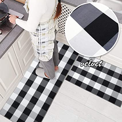 Incredible Ustide 2 Pieces Velvet Black And White Plaid Kitchen Rug Set Antiskid Check Accent Throw Rugs Runner Interior Design Ideas Ghosoteloinfo