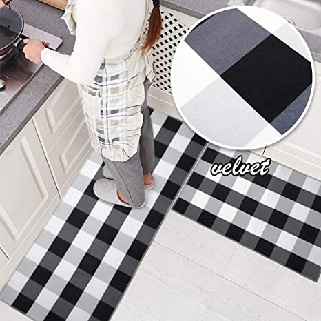 USTIDE 2 Pieces Velvet Black and White Plaid Kitchen Rug Set Antiskid Check  Accent Throw Rugs Runner