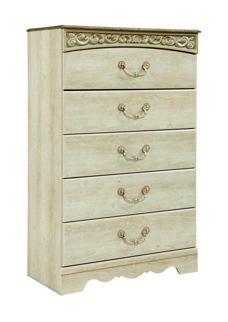Ashley Furniture Signature Design - Catalina Chest of Drawers - 5 Drawers - Traditional - Replicated Chestnut Grain - Antique White by Signature Design by Ashley