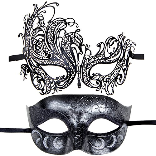Couples Pair Half Venetian Masquerade Ball Mask Set Party Costume Accessory (white1) (Couple Themed Halloween Costumes)