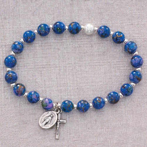 BR295C BLUE VENETIAN STRETCH BRACELET 7MM FAUX VENETIAN GLASS BEADS SILVER OX CRUCIFIX AND MIRACULOUS MEDAL - Crucifix Venetian Glass