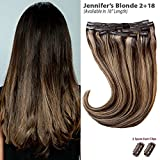 Jennifer's Blonde Balayage (2+18) Clip in Hair Extensions - 100% Remy Human Hair by Estelle's Secret