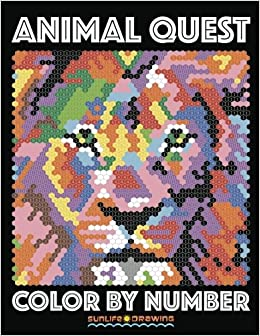 amazoncom animal quest color by number activity puzzle coloring book for adults relaxation stress relief quest color by number books volume 1 - Color By Number Books