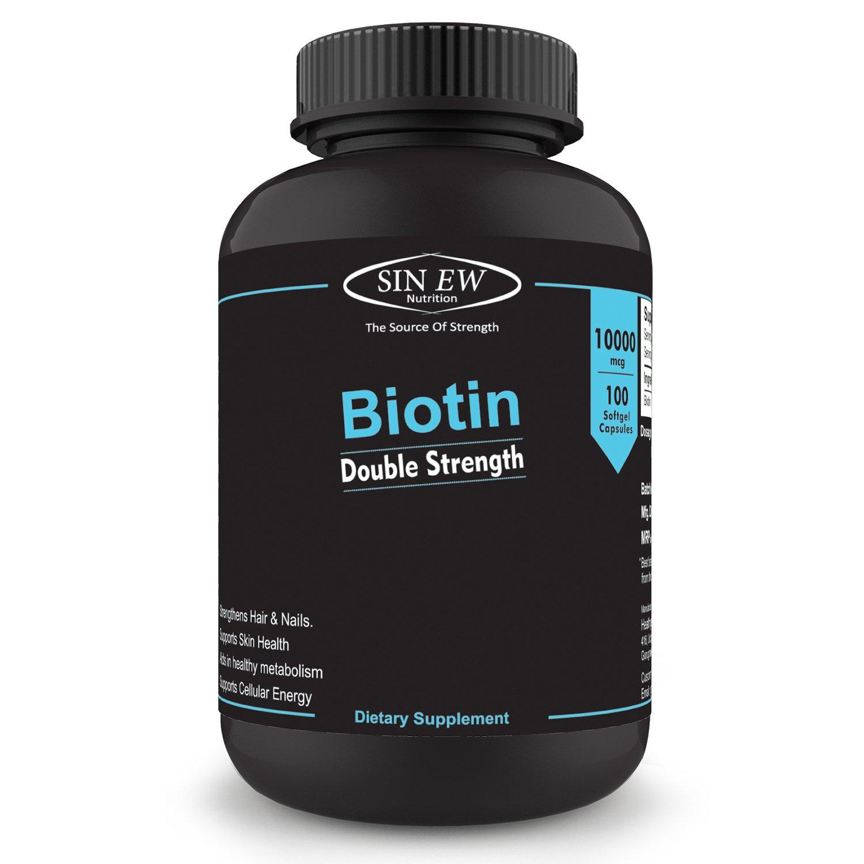 Sinew Nutrition Biotin 10,000mcg (Vitamin B7 for Hair, Skin & Nails) 100 Veg Softgels product image