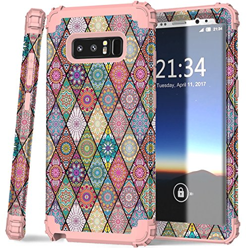 Galaxy Note 8 Case, Hocase Heavy Duty Shockproof Hybrid Hard Shell Silicone Bumper Protective Case with Cute Mandala Flower Pattern Design for Samsung Galaxy Note 8 (2017) - Rose Gold Pink