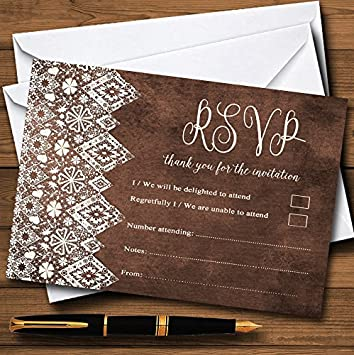 Vintage Brown Old Paper /& Vintage Lace Effect Personalized Wedding Thank You