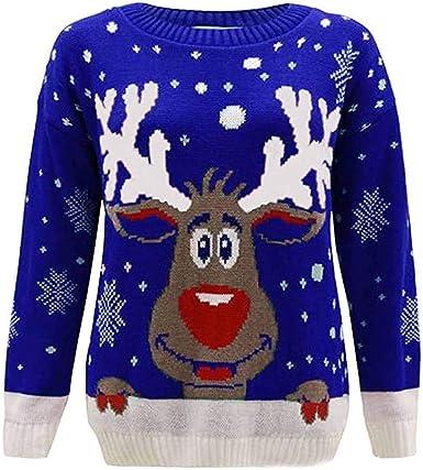 ღLILICATღ Mujer Sudaderas Navidad Jersey Casual Camisa Navideña Estampada de Reno Blusa Cómodo Pullover Caliente Suéter Ropa de Invierno Tops S-2XL: Amazon.es: Ropa y accesorios
