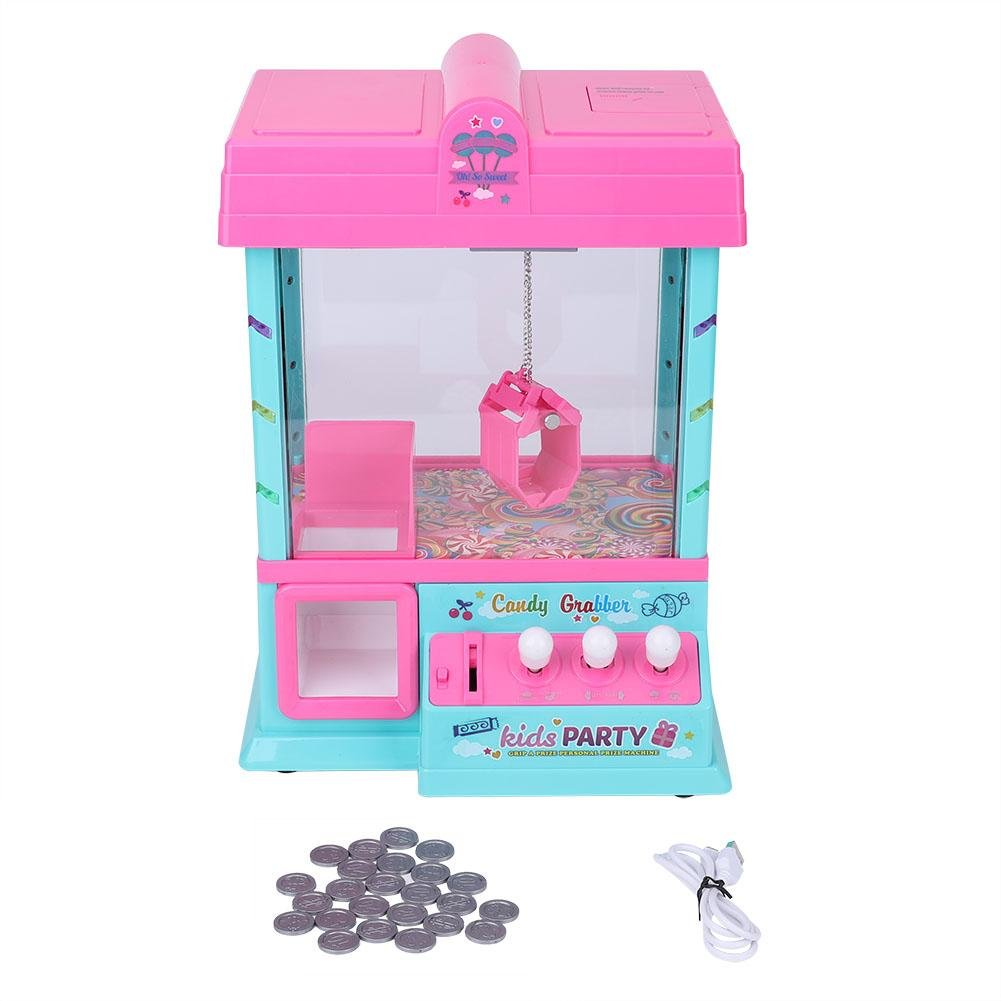 Zerodis Máquina niños Mini juguete de interior Mini Arcade juego para niños Inicio Juego con cable USB, monedas juego(rosa)