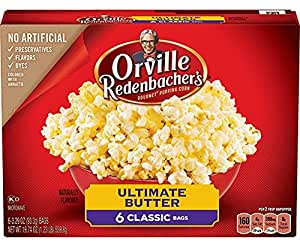 Orvillle Redenbacher's Ultimate Butter Microwave Popcorn, 6 Classic Bags (19.74 Ounces Total)