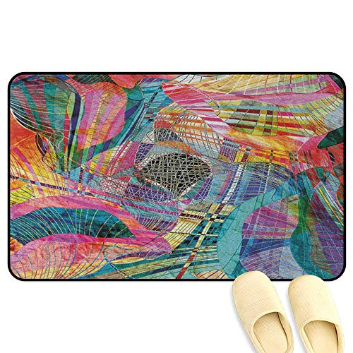 Abstract Office Chair Mat Retro Background Graphic Artistic Composition in Watercolors Creative Illustration Multicolor Hard Floor Protection W39 x L63 INCH