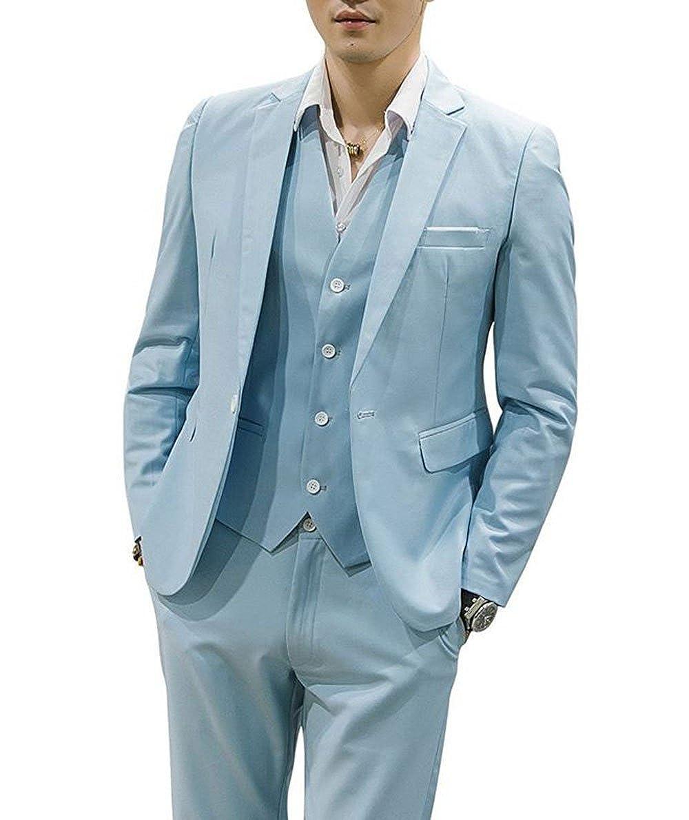 LoveeToo 3-Pieces Mens Wedding Groom Tuxedos Formal Blazer Tux Vest & Trousers ST0026