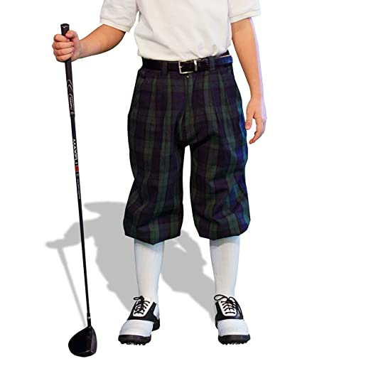 1930s Childrens Fashion: Girls, Boys, Toddler, Baby Costumes Plaid Golf Knickers - Par 5 Youth Black Watch Cotton/Ramie $99.95 AT vintagedancer.com
