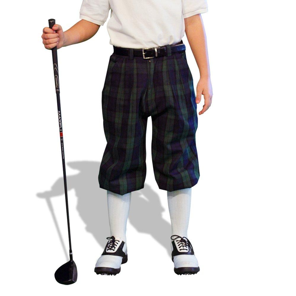 Plaid Golf Knickers - 'Par 5' Youth Black Watch Cotton/Ramie - XS 6-7 (22'')