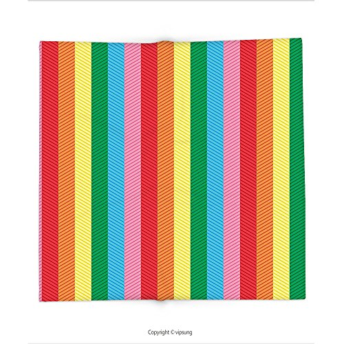 Custom printed Throw Blanket with Abstract Rainbow Colored Shades Straight Band Stripes Trendy Vibrant Tones Artistic Design Multicolor Super soft and Cozy Fleece - Minaj Shades Nicki