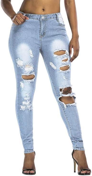 Familizo Vaqueros Rotos Mujer Vaqueros Mujer Tallas Grandes Vaqueros Altos Ajustados Pantalones Tejanos Largos Mujer Anchos Casual Skinny High Waist Leggings Amazon Es Ropa Y Accesorios